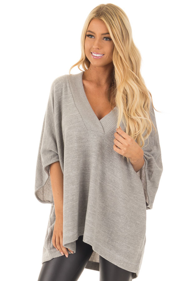 Heather Grey Super Soft Knit Loose Fit Poncho front close up