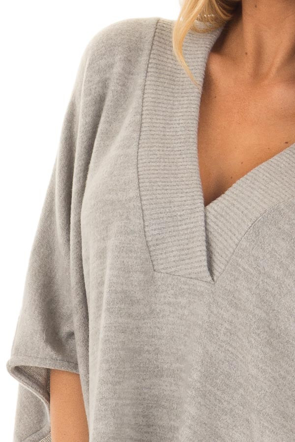 Heather Grey Super Soft Knit Loose Fit Poncho detail