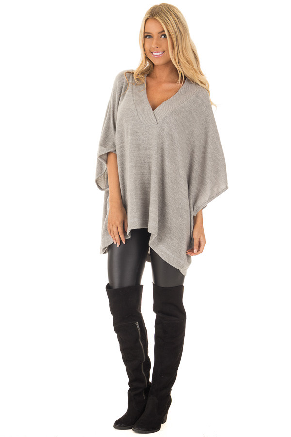 Heather Grey Super Soft Knit Loose Fit Poncho front full body