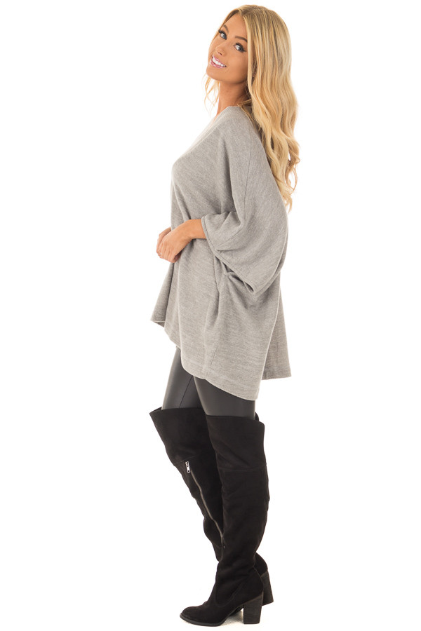Heather Grey Super Soft Knit Loose Fit Poncho side full body