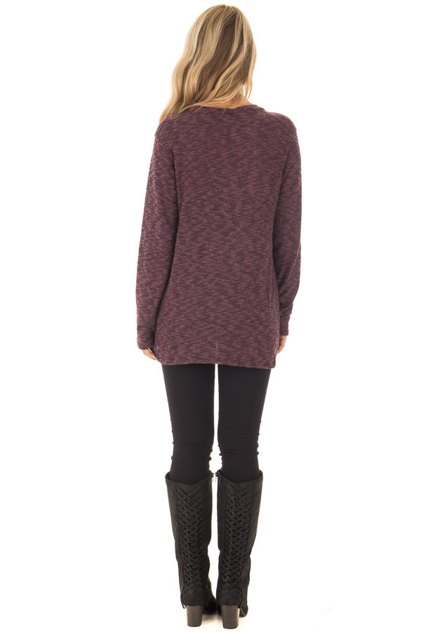 Burgundy Two Tone Knit Sweater with Twist Detail back full body