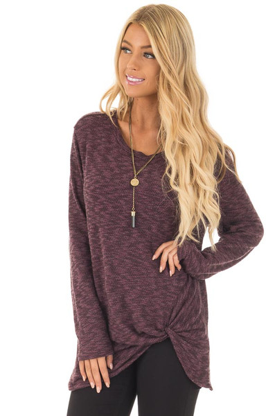 Burgundy Two Tone Knit Sweater with Twist Detail front close up