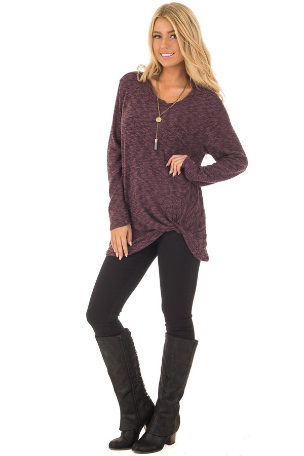 Burgundy Two Tone Knit Sweater with Twist Detail front full body