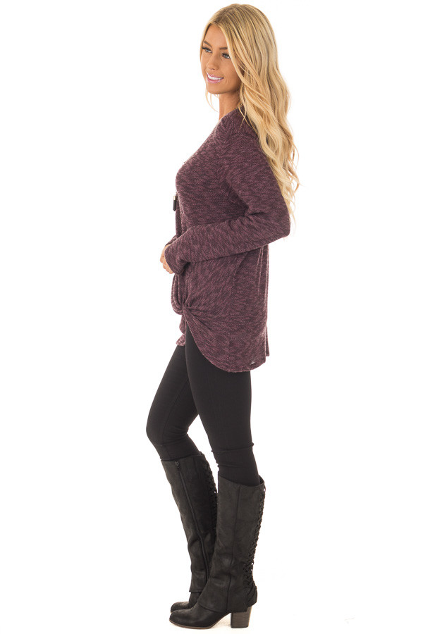 Burgundy Two Tone Knit Sweater with Twist Detail side full body