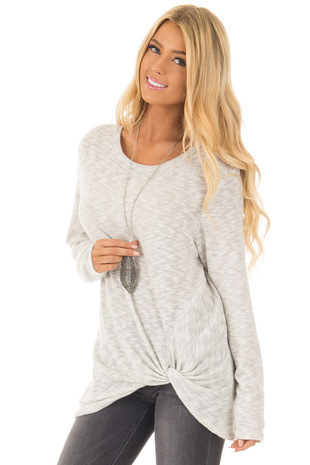 Lunar Grey Two Tone Knit Sweater with Twist Detail front full body