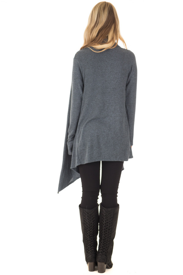 Dark Slate Blue Draped Knit Cardigan with Button Detail back full body
