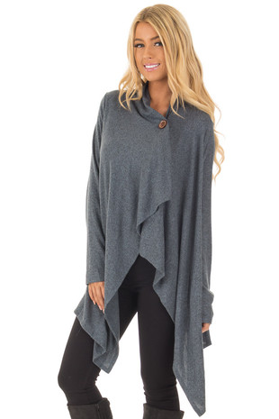Dark Slate Blue Draped Knit Cardigan with Button Detail front close up