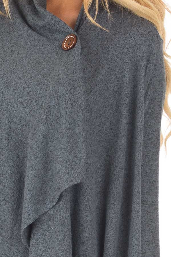Dark Slate Blue Draped Knit Cardigan with Button Detail detail