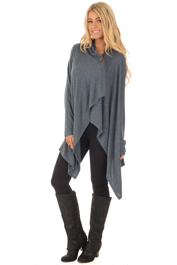 Dark Slate Blue Draped Knit Cardigan with Button Detail front full body