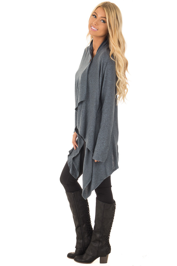 Dark Slate Blue Draped Knit Cardigan with Button Detail side full body