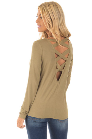 Light Olive Top with Deep V Criss Cross Band Back back side close up