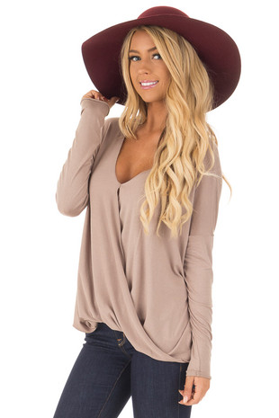 Coco Drop Shoulder Long Sleeve Surplice Top front close up