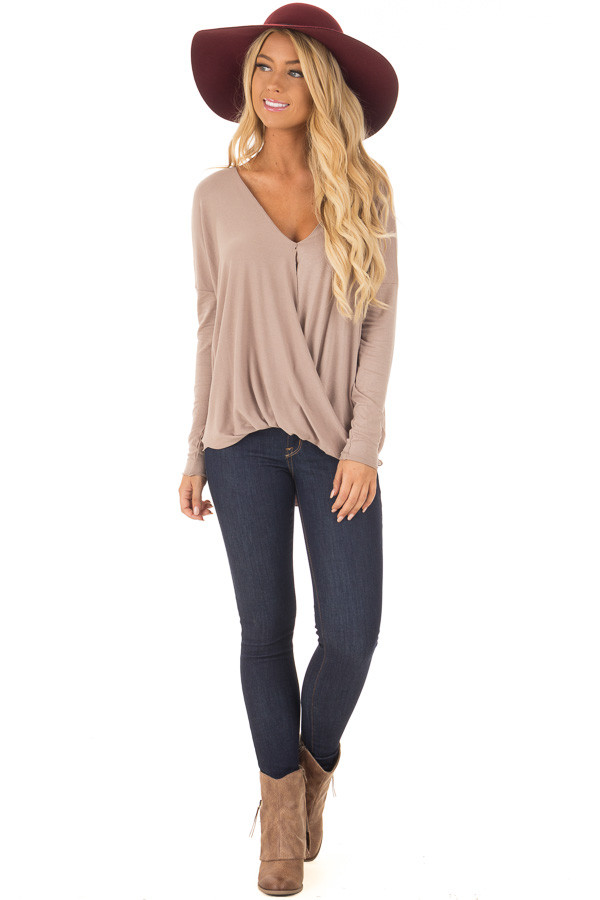 Coco Drop Shoulder Long Sleeve Surplice Top front full body