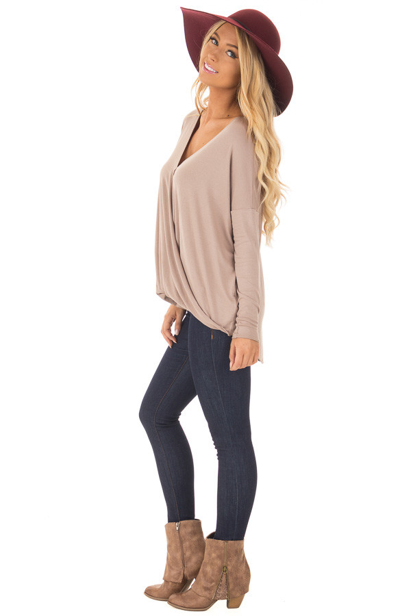 Coco Drop Shoulder Long Sleeve Surplice Top side full body