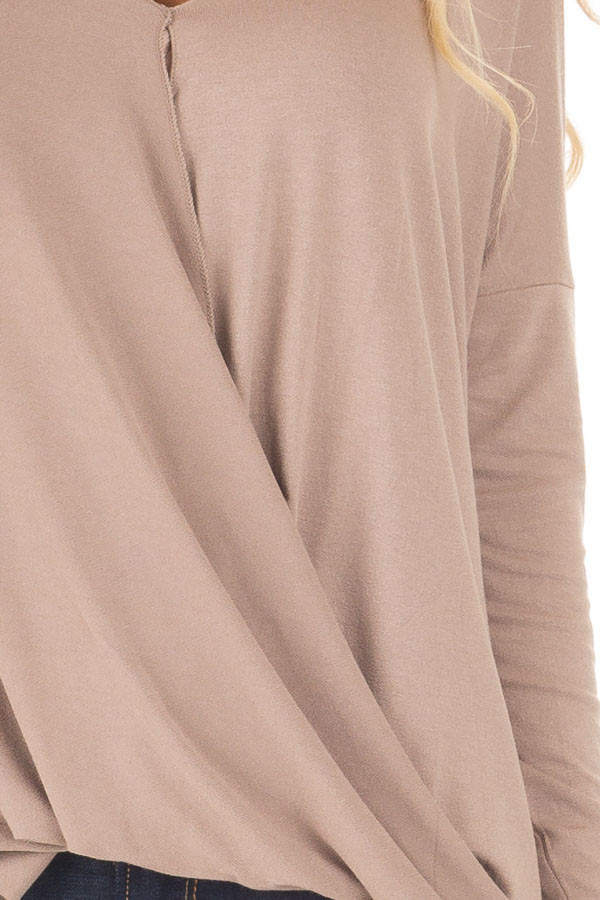 Coco Drop Shoulder Long Sleeve Surplice Top detail