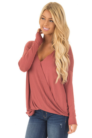 Brick Drop Shoulder Long Sleeve Surplice Top front close up