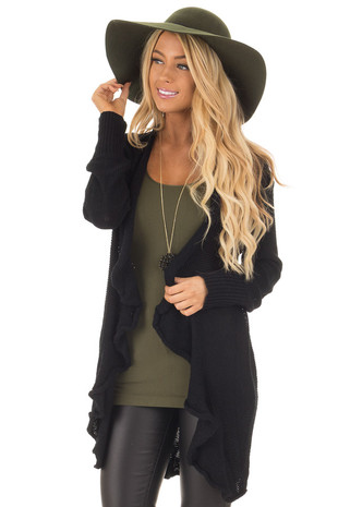 Black Draped Open Knit Cardigan front close up