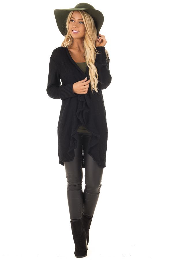 Black Draped Open Knit Cardigan front full body