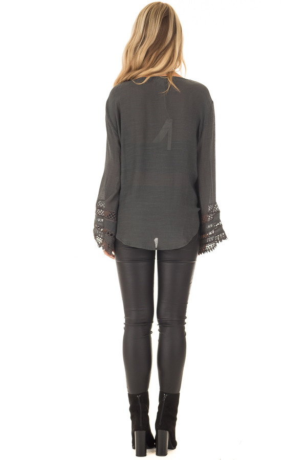 Charcoal Long Sleeve Surplice Top with Crochet Detail back full body