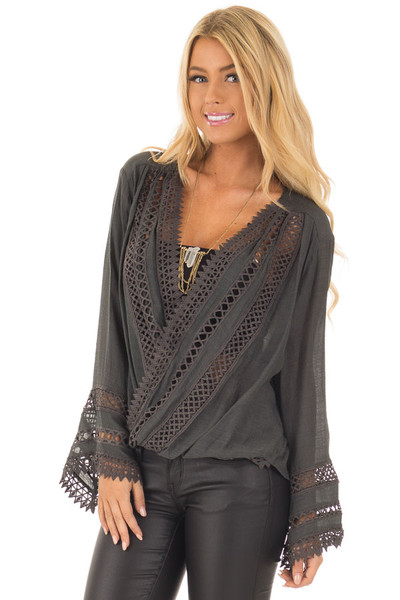 Charcoal Long Sleeve Surplice Top with Crochet Detail front close up