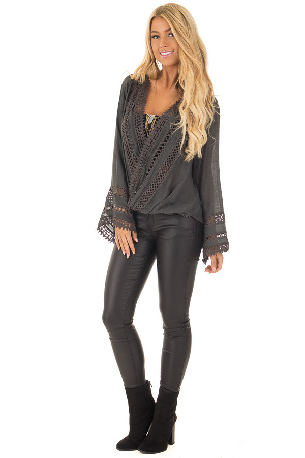 Charcoal Long Sleeve Surplice Top with Crochet Detail front full body
