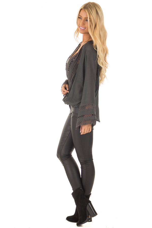Charcoal Long Sleeve Surplice Top with Crochet Detail side full body