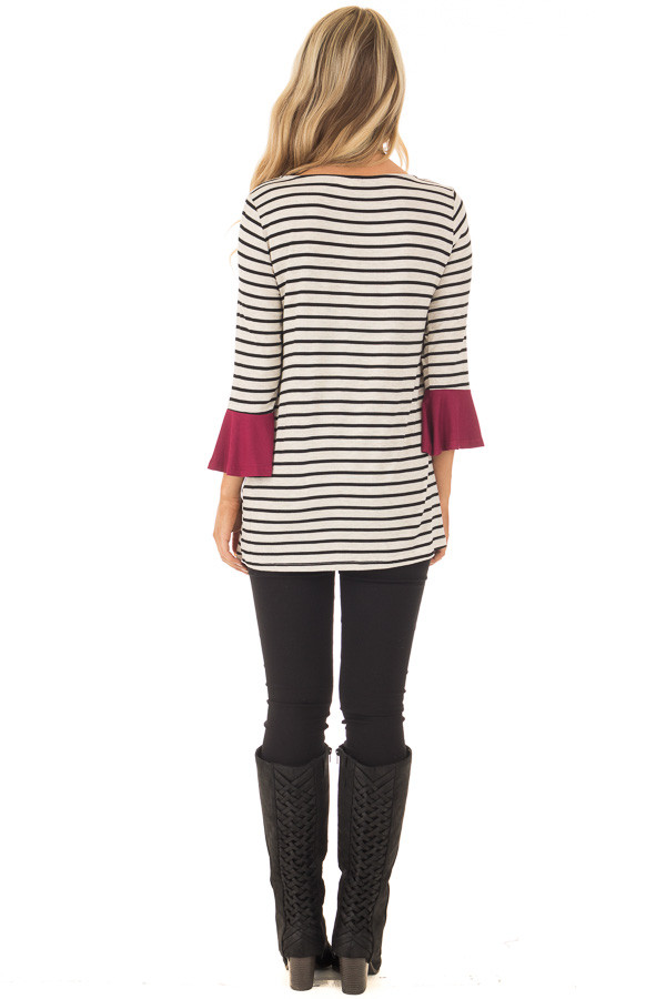 Black and Oatmeal Striped Top with Burgundy Contrast back full body