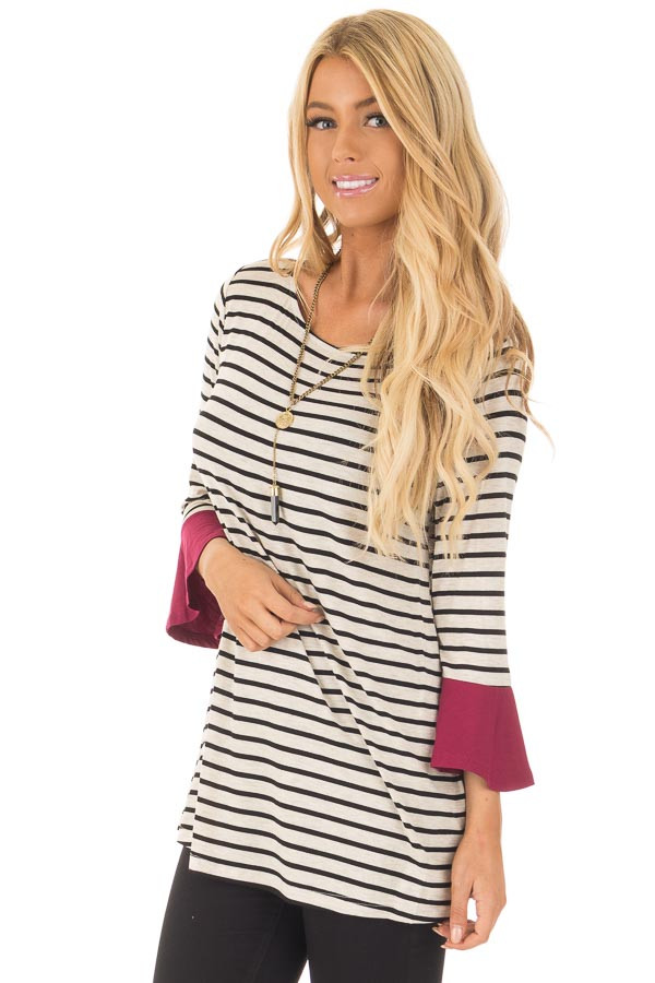 Black and Oatmeal Striped Top with Burgundy Contrast front close up