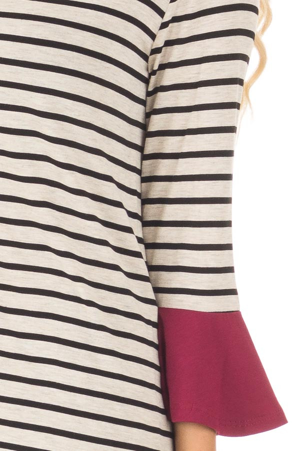 Black and Oatmeal Striped Top with Burgundy Contrast detail