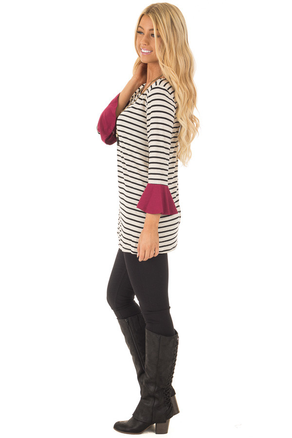 Black and Oatmeal Striped Top with Burgundy Contrast side full body