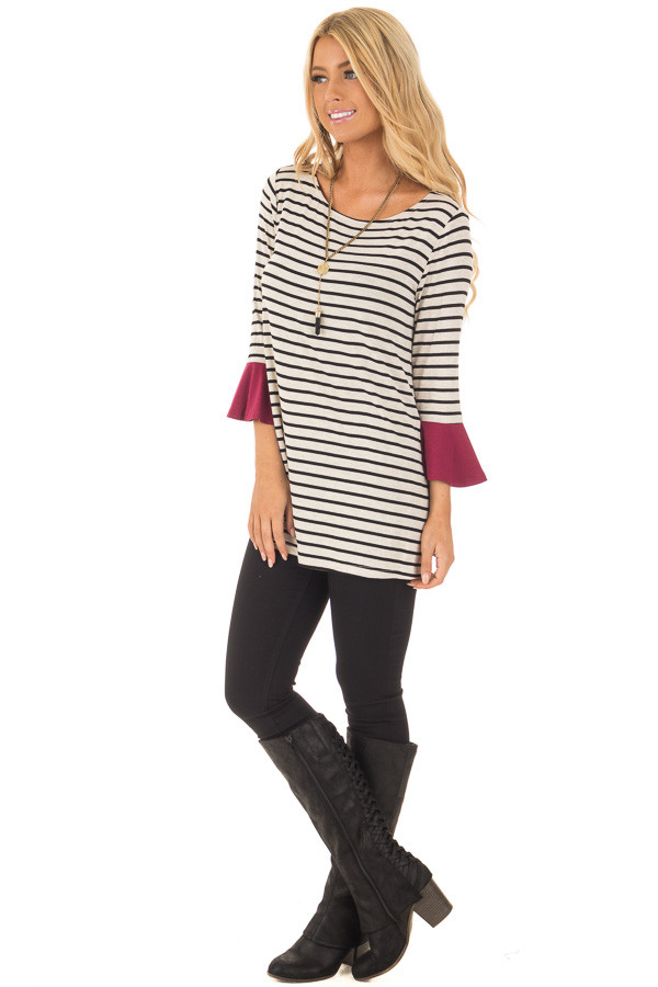 Black and Oatmeal Striped Top with Burgundy Contrast front full body