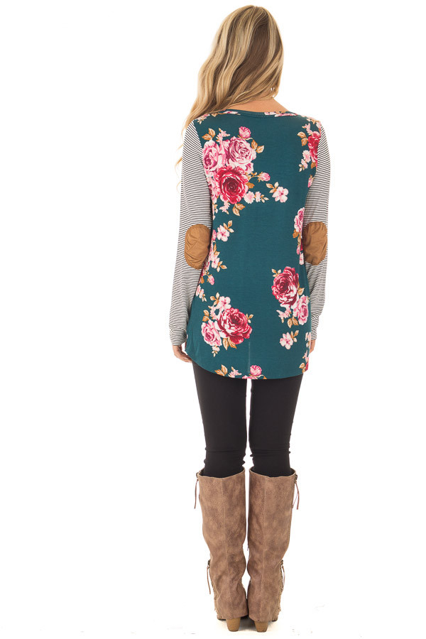 Hunter Green Floral Top with Striped Raglan Sleeves back full body