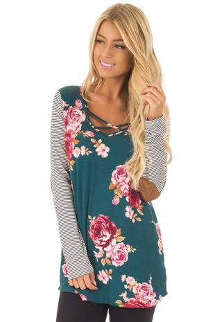 Hunter Green Floral Top with Striped Raglan Sleeves front close up
