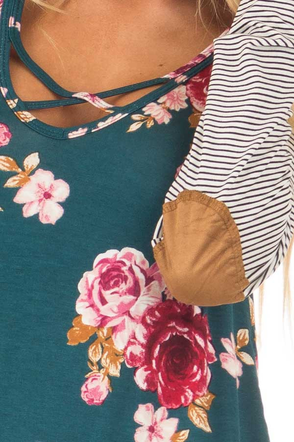 Hunter Green Floral Top with Striped Raglan Sleeves detail