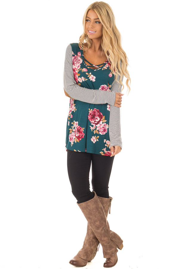 Hunter Green Floral Top with Striped Raglan Sleeves front full body