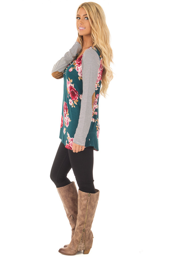 Hunter Green Floral Top with Striped Raglan Sleeves side full body