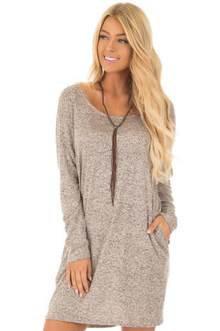 Taupe Two Tone Knit Dress with Side Pockets front close up