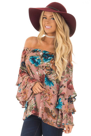 Dusty Pink Ruffled Bell Sleeve Floral Off the Shoulder Top front close up