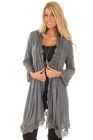 Charcoal 3/4 Sleeve Cardigan with Lace Trimmed Detail front close up