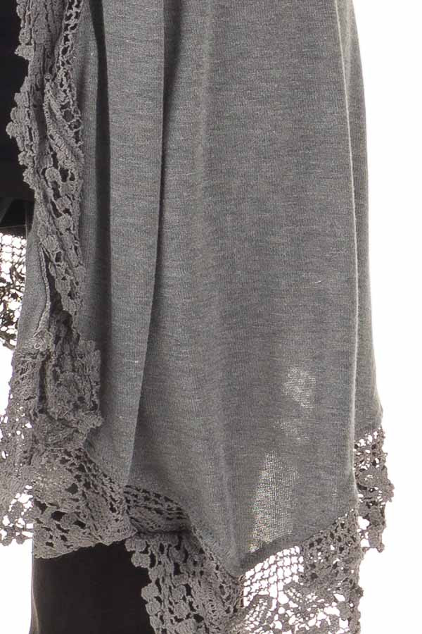 Charcoal 3/4 Sleeve Cardigan with Lace Trimmed Detail detail