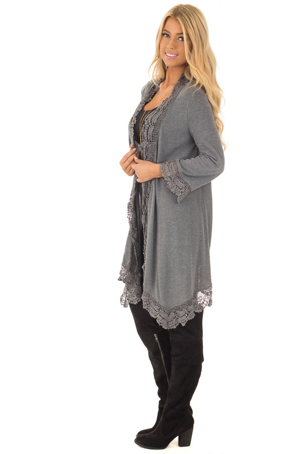 Charcoal 3/4 Sleeve Cardigan with Lace Trimmed Detail side full body