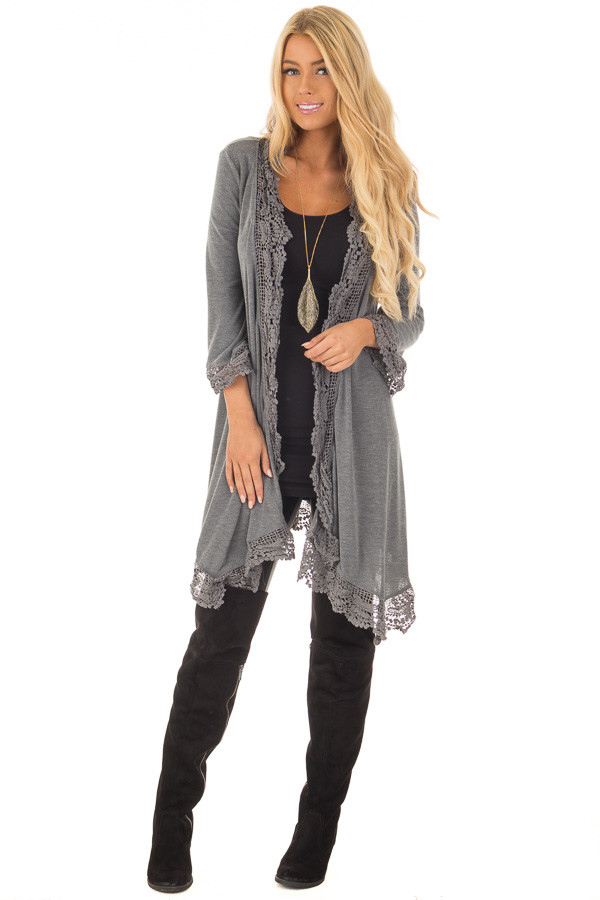 Charcoal 3/4 Sleeve Cardigan with Lace Trimmed Detail front full body