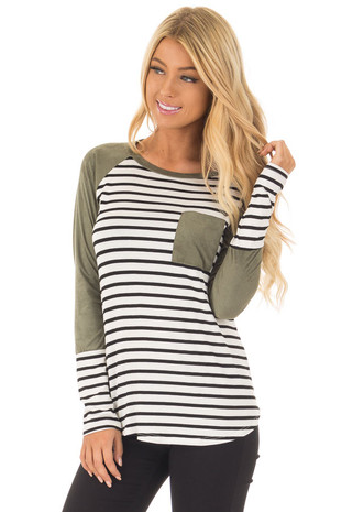 Olive Suede Raglan Sleeve Striped Top with Chest Pocket front close up