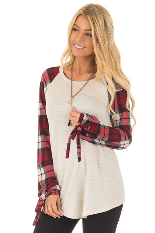 Burgundy Plaid Tie Sleeve Raglan Top front close up