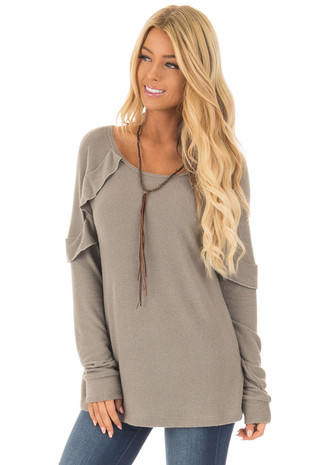 Light Olive Super Soft Ruffle Detail Long Sleeve Top front close up