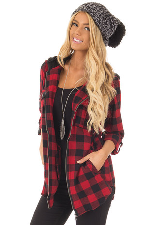 Red and Black Checkered Flannel Zip Up Hoodie with Pockets front close up