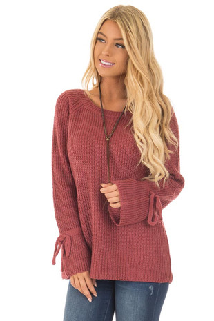 Marsala Long Bell Sleeve Sweater with Draw String Detail front close up