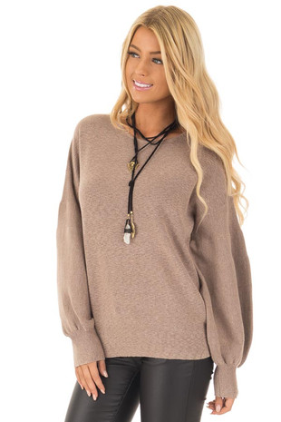 Mocha Sweater with Long Bubble Sleeves front close up