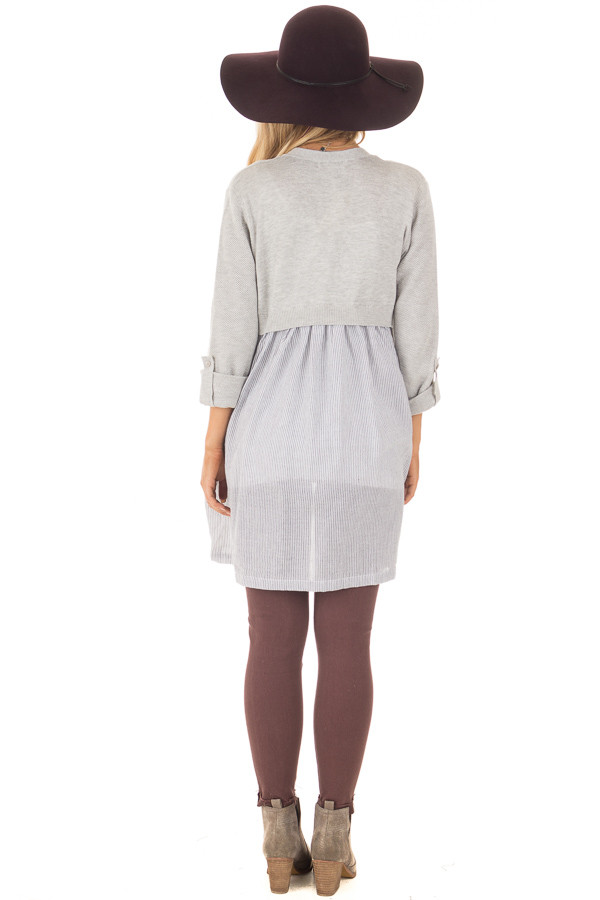 Heather Grey Cardigan with Striped Back Contrast back full body