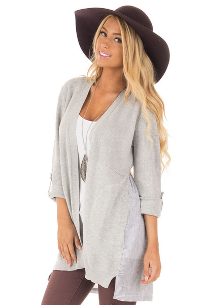 Heather Grey Cardigan with Striped Back Contrast front close up